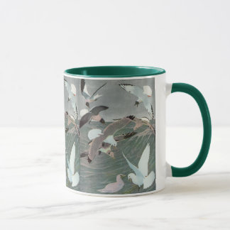 Vintage Marine Birds, Seagulls Flying over Ocean Mug