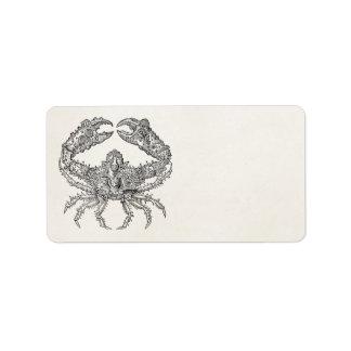 Vintage Marine Crab Parchment Personalized