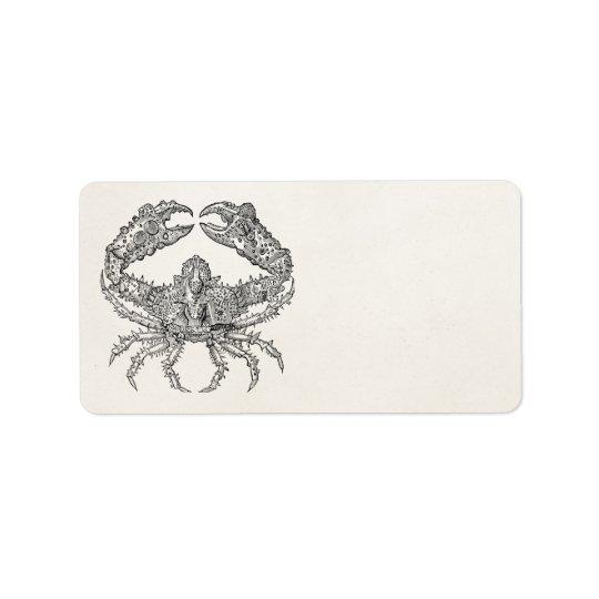 Vintage Marine Crab Parchment Personalized Label
