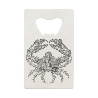 Vintage Marine Crab Parchment Personalized Wallet Bottle Opener