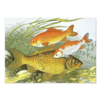 Vintage Marine Fish, Goldfish Koi Party Invitation