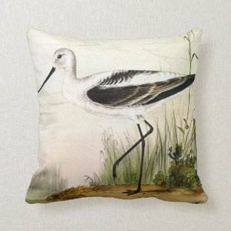 Vintage Marine Life Shorebirds, Avocet Birds Throw Pillow