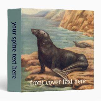 Vintage Marine Mammals, Sea Lion by the Seashore 3 Ring Binder