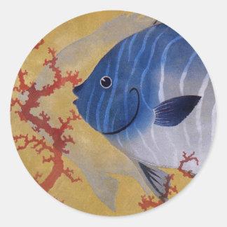 Vintage Marine Ocean Life Tropical Blue Fish Coral Round Sticker