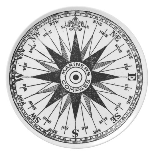 Vintage Mariner's Compass plate