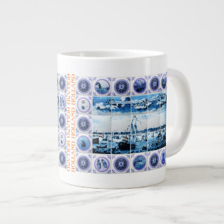 Vintage Maritime Holland Delftware Style Amsterdam Giant Coffee Mug