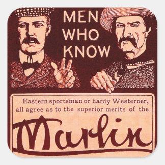 Vintage Marlin Firearms Red Gun Ad Sticker Set