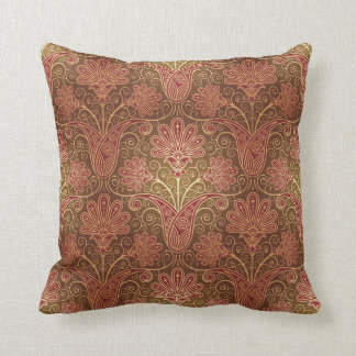 Vintage Maroon  and Brown Floral Pattern Pillow
