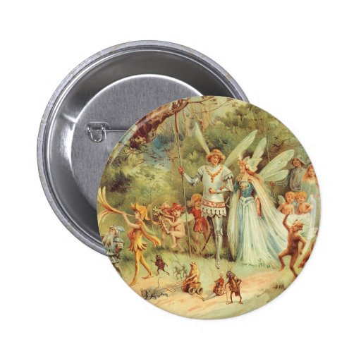 Vintage Marriage of Thumbelina and Prince Pinback Button