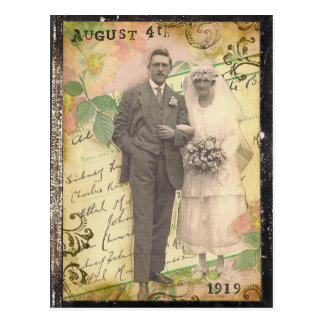 Vintage marriage photo of 4th august 1919 postcard