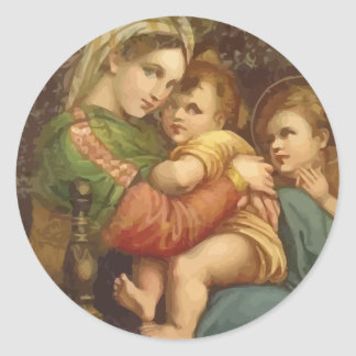 Vintage Mary and Jesus Christmas Stickers