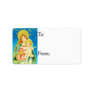Vintage Mary and Jesus Gift Tag