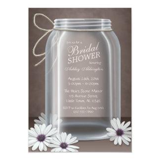 "Vintage Mason Jar Daisy Brown Bridal Shower 5"" X 7"" Invitation Card"
