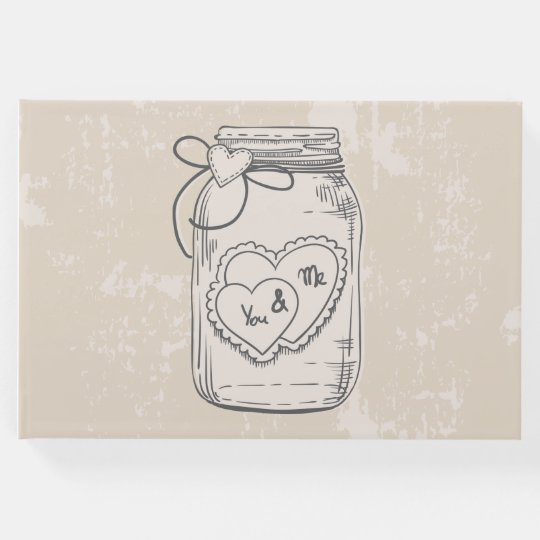 Vintage Mason Jar Hearts Wedding Bridal Shower Guest Book