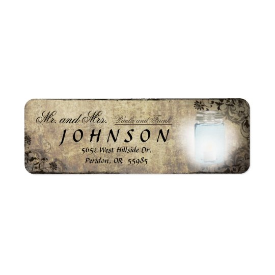 Vintage Mason Jar Lantern Return Address Label