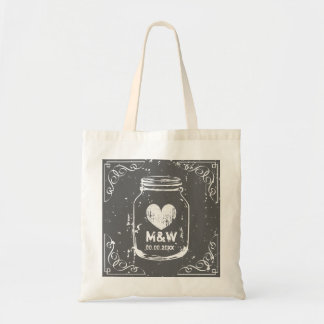 Vintage mason jar monogram wedding party tote bags