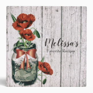 Vintage Mason Jar Poppy Recipe Binder, Cookbook 3 Ring Binder