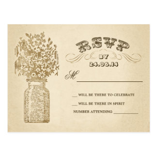 vintage mason jar wedding rsvp postcards