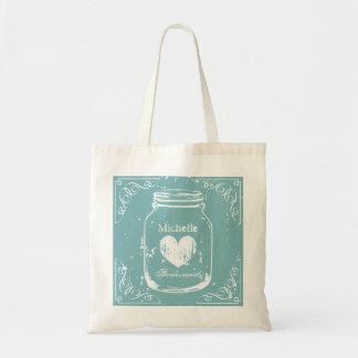 Vintage mason jar wedding tote bag for bridesmaids