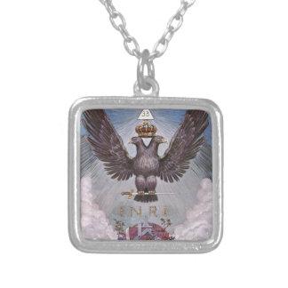Vintage Masonic Print Square Pendant Necklace