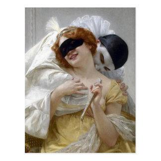 Vintage Masquerade Pierrot Postcard