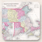 Vintage Massachusetts and Rhode Island Map (1855) Coaster