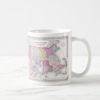 Vintage Massachusetts and Rhode Island Map (1855) Coffee Mug