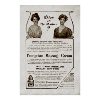 Vintage Massage Cream Ad from 1907 Poster