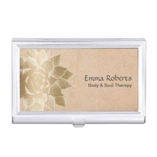 Vintage Massage Therapy Elegant Gold Lotus Business Card Holder