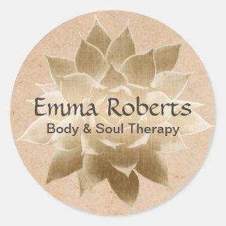 Vintage Massage Therapy Elegant Gold Lotus Classic Round Sticker