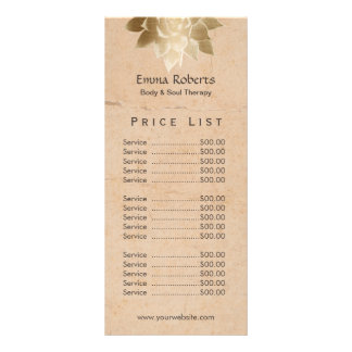Vintage Massage Therapy Gold Lotus Price List Rack Card