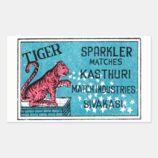 Vintage Match Label- Tiger Sparkler Sticker