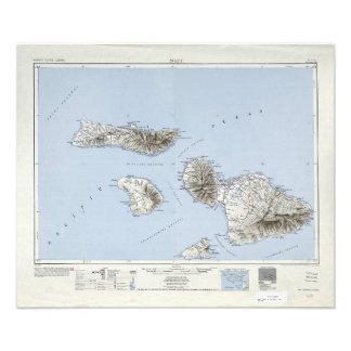 Vintage Maui Hawaii Topographical Map Photo Print