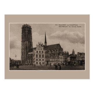 Vintage Mechelen Malines Grote Markt Grand Place Postcard