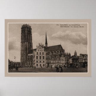 Vintage Mechelen Malines Grote Markt Grand Place Poster