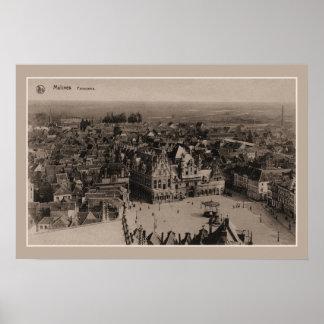 Vintage Mechelen Malines Panorama Poster