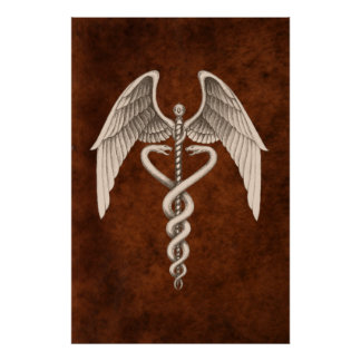 Vintage Medical Caduceus Symbol Business Print