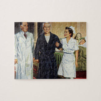 Vintage Medicine, Doctor and Nurse with Patient Jigsaw Puzzle