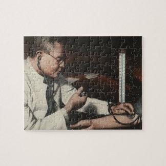 Vintage Medicine, Doctor Examining a Sick Patient Jigsaw Puzzle