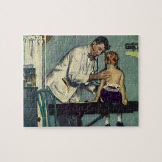 Vintage Medicine, Doctor Seeing a Girl Patient Jigsaw Puzzle