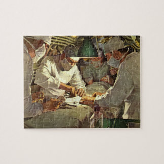 Vintage Medicine, Doctors Performing Surgery in ER Jigsaw Puzzle