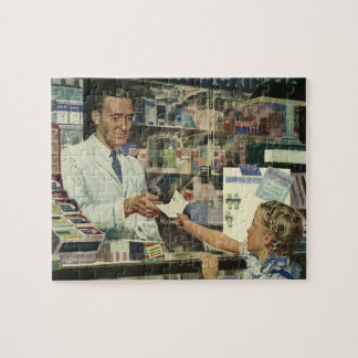 Vintage Medicine, Girl at the Pharmacy Jigsaw Puzzle