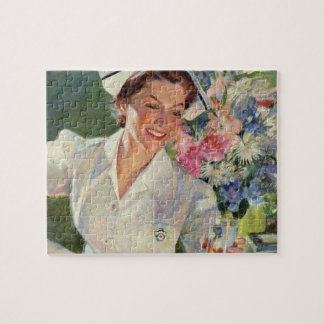 Vintage Medicine, Happy Nurse in Uniform Jigsaw Puzzle