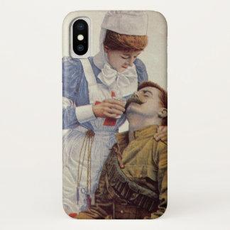 Vintage Medicine, Nurse with Civil War Soldier iPhone X Case