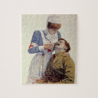 Vintage Medicine, Nurse with Civil War Soldier Jigsaw Puzzle