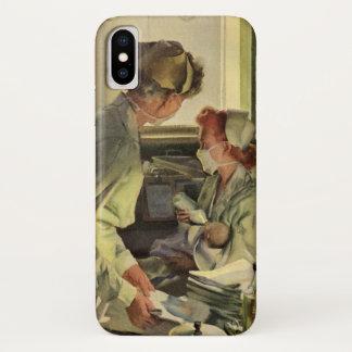Vintage Medicine, Nurses with Newborn Baby Infants iPhone X Case
