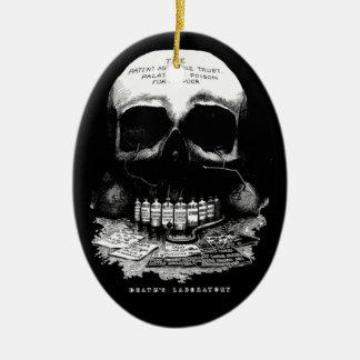 Vintage Medicine Skull and Drugs and Deaths Lab Ceramic Oval Ornament