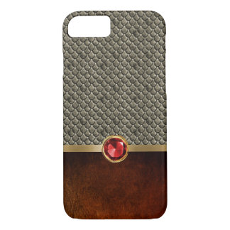 Vintage Medieval Bronze Scale & Leather Ruby iPhone 7 Case