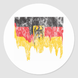Vintage Melting Germany Flag Classic Round Sticker