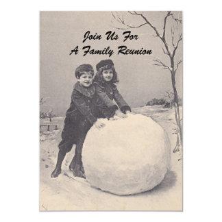 Vintage Memories Family Reunion Snowman Invitation